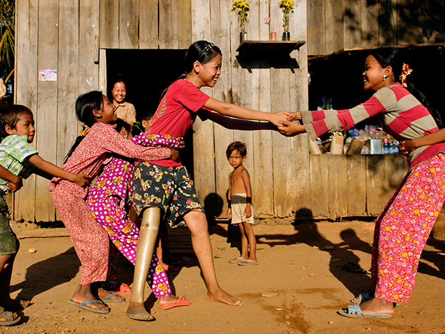 Kanha playing with her friends, Cambodia