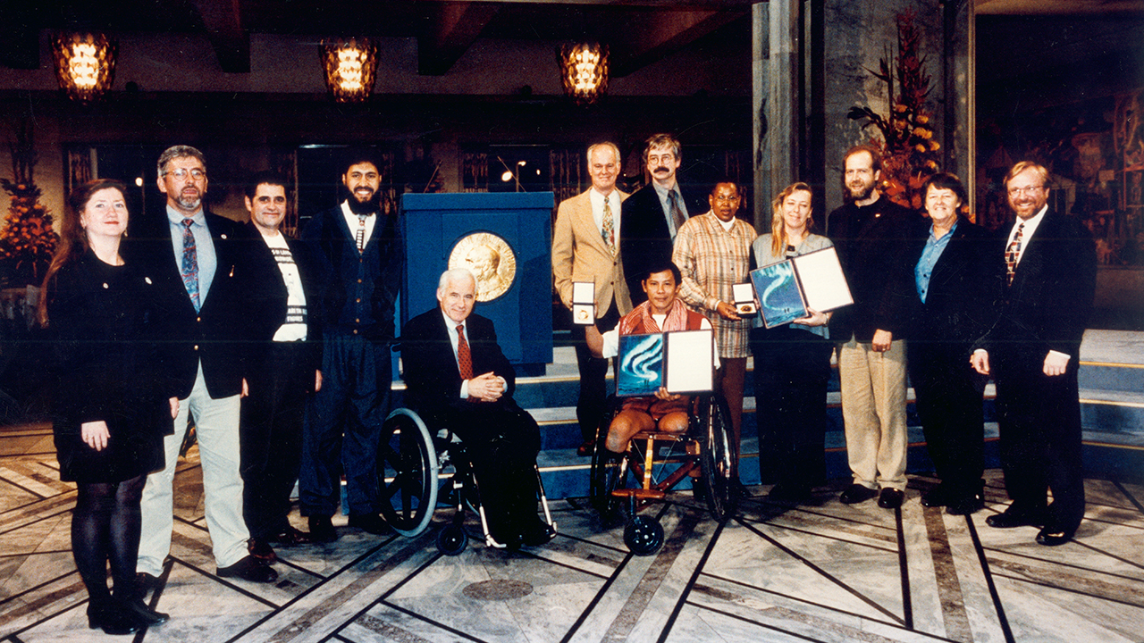 The International Campaign against Landmines received the Nobel Peace Price, Oslo, December 1997