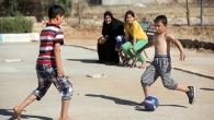 Syrian children playing soccer