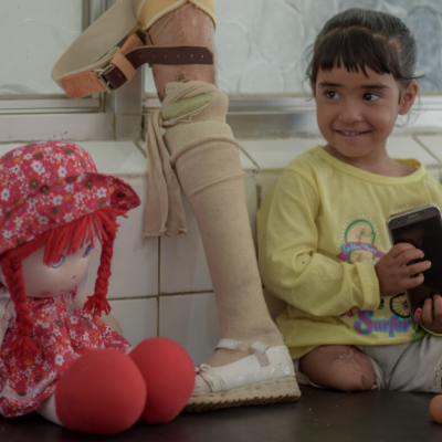 Hala, 4, was injured in an air raid while playing with her cousin