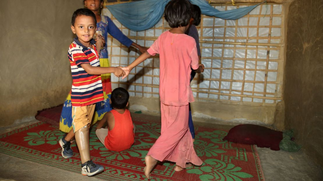 Anowar, 9, is living in Bangladesh refugee camp, Coxs Bazar, with his family.