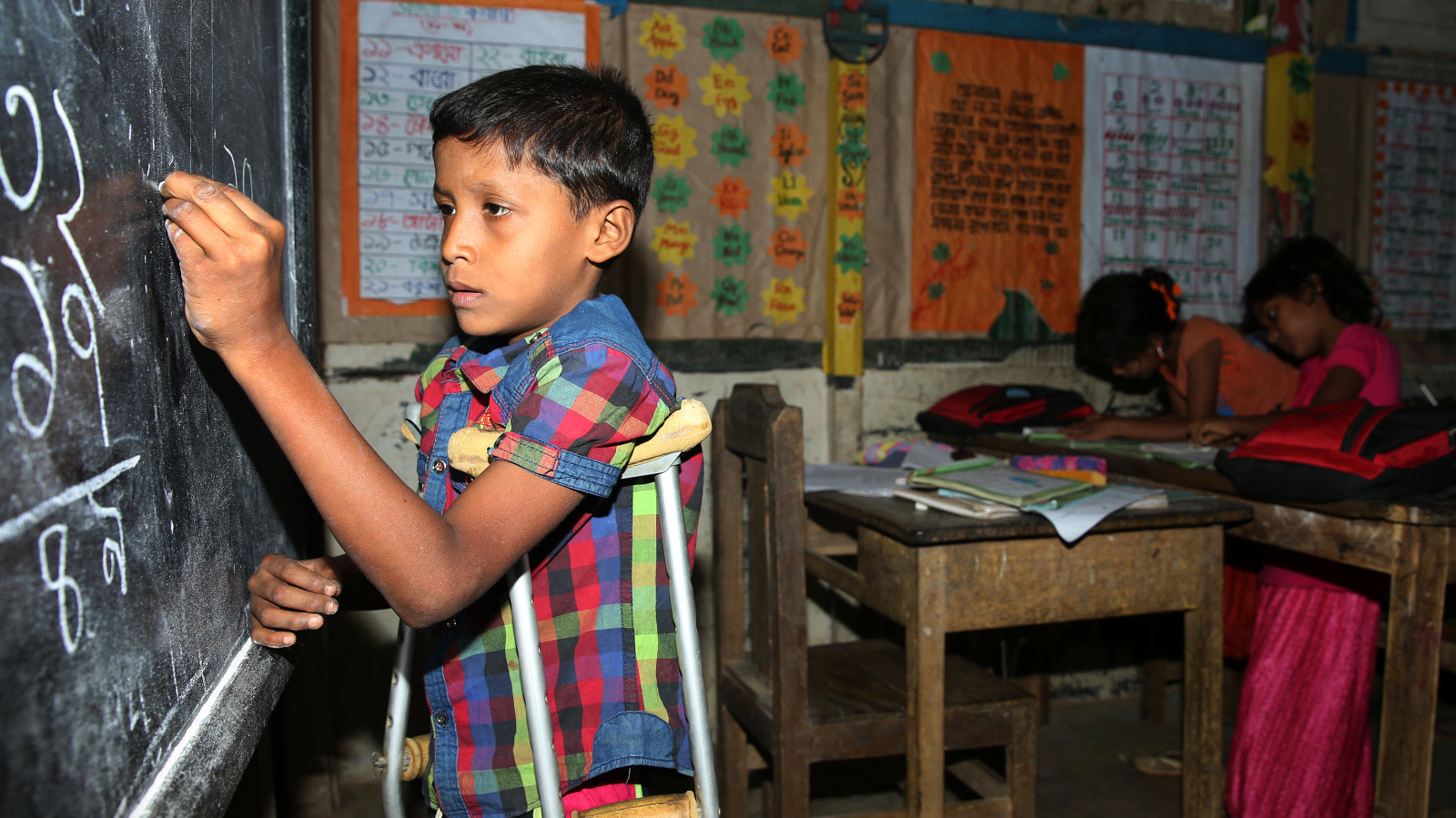Saiful, 9, lives in Rohingyas refugees camp in Kutupalong, in south of Bangladesh.