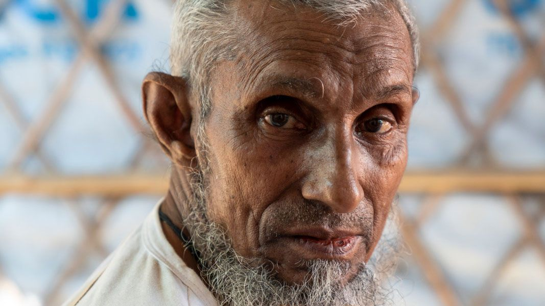 Ali suffered a stroke that partially paralyzed him in the Rohingya refugee camp.