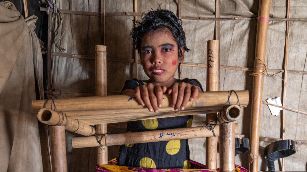 Shumira, 10, has been living with cerebral palsy in the Teknaf camp, near Cox's Bazar, in Bangladesh.