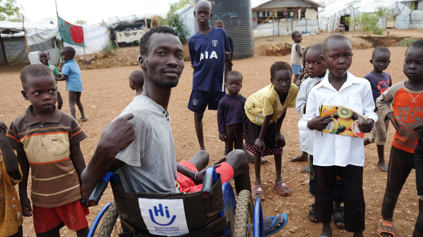 Beneficiary who received a wheelchair in a camp for displaced people near Juba, South Sudan