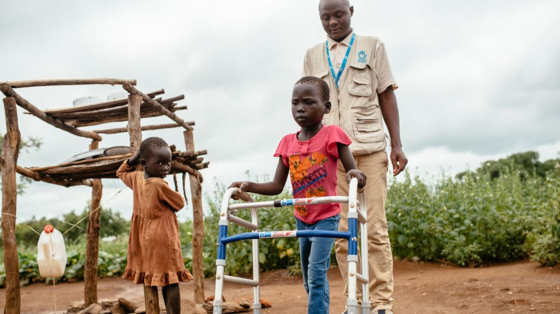 Ludia is an 7 year-old little girl from South Sudan following a rehabilitation session with her physiotherapist.