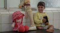 Four-year-old Hala was hit by a shell while playing in front of her home