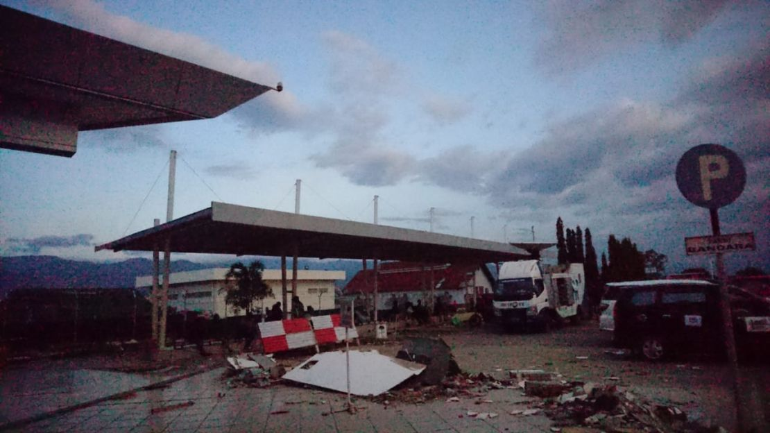 Damage in Palu city centre, Sulawesi.