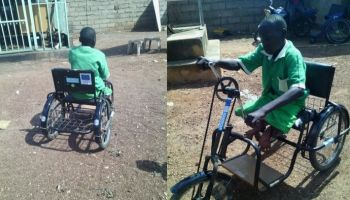 Emmanuel can now travel to school by himself on his tricycle