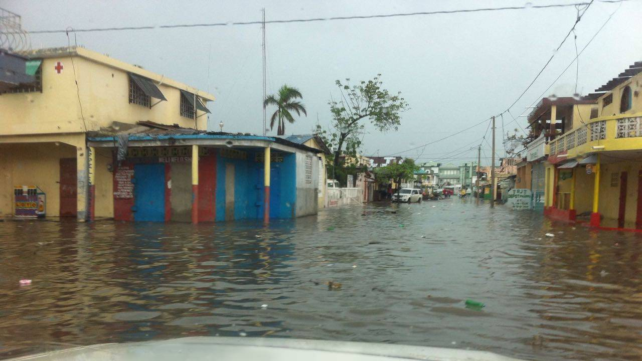 Street of Cayes flooded by the rain on October 20th.