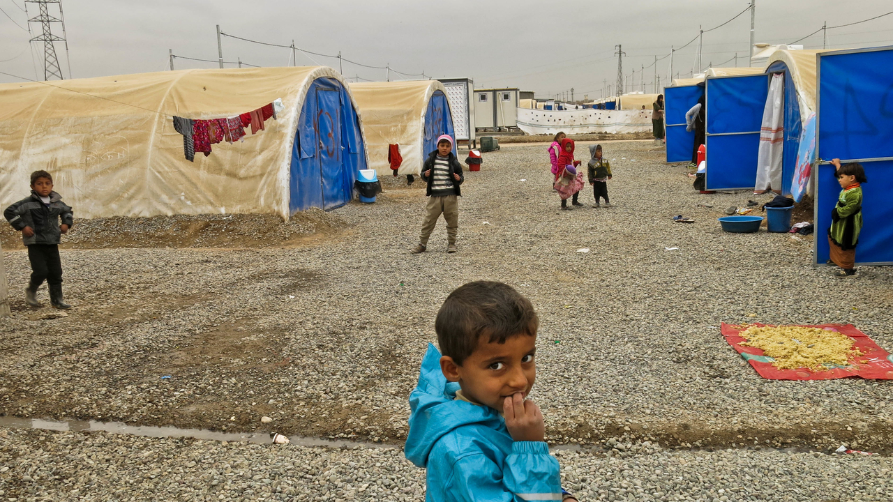 Children playing in Khazer camp, one of the biggest camp hosting displaced persons from Mosul and the region.