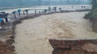 Floods in Kutupalong refugee camp in Bangladesh; }}