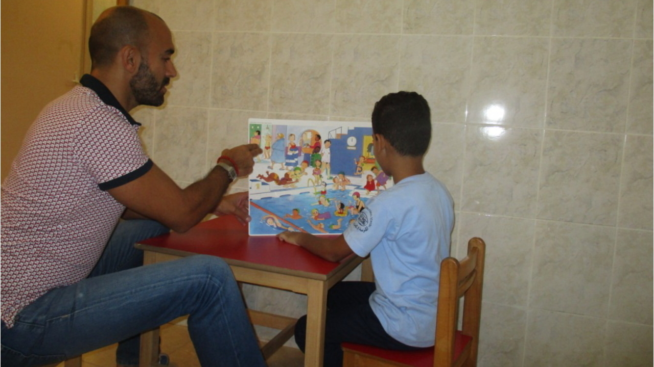 Speech therapy session in one of the three children centre supported by Handicap International in Lebanon