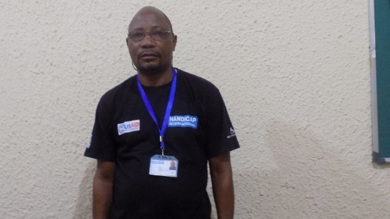Sulu Bellarmin, who works as a driver and logistics assistant for Handicap International's team in Kasai, DR Congo.