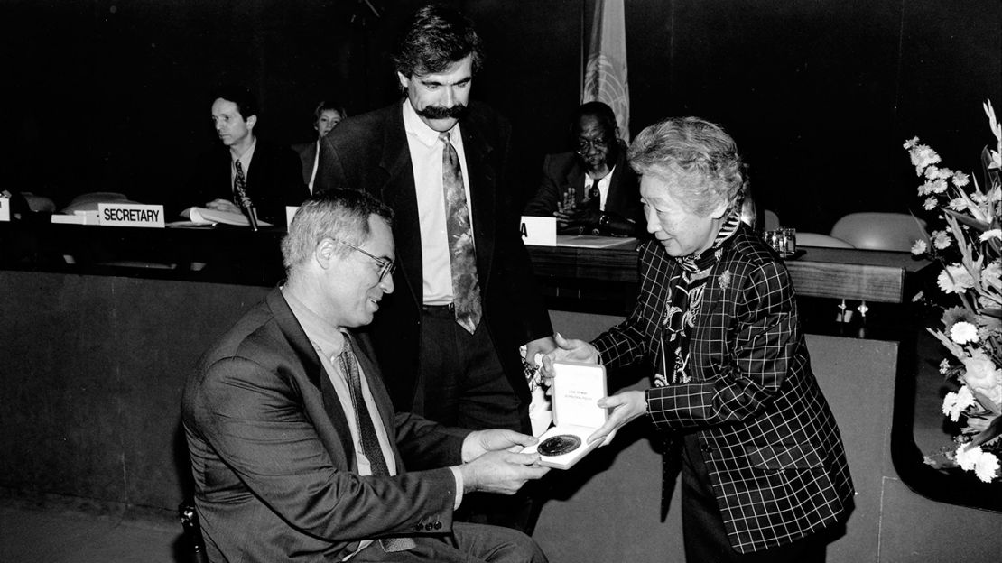 The Nansen Medal for 1996 was awarded to Humanity & Inclusion for its outstanding work with refugees.