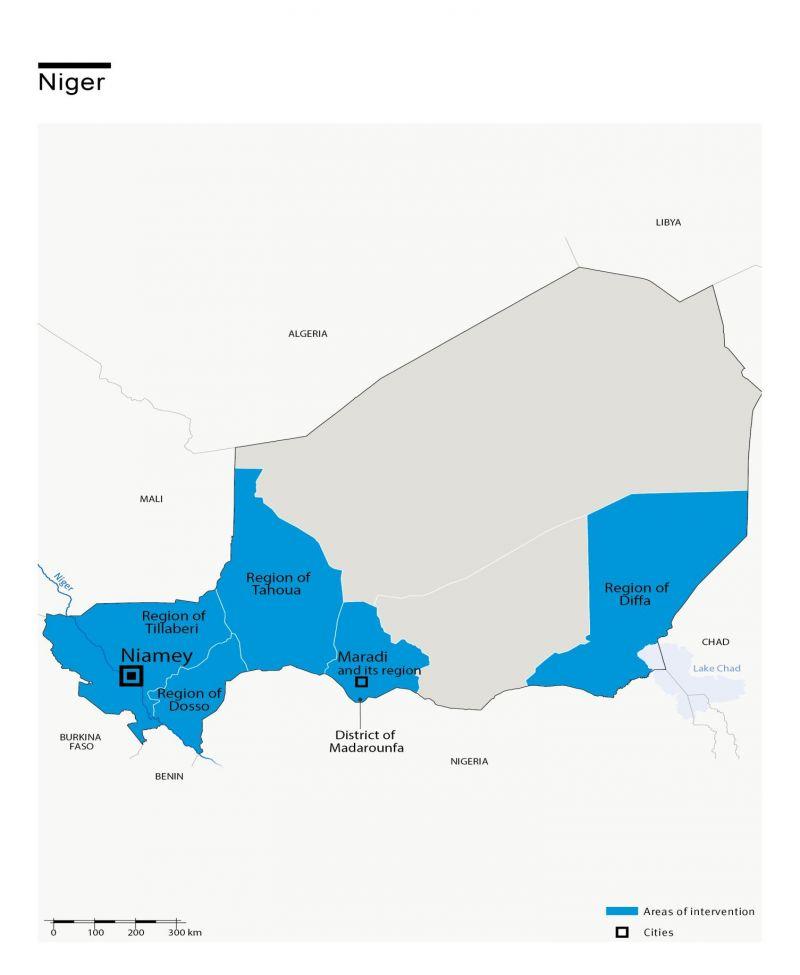 Map of HI's interventions in Niger
