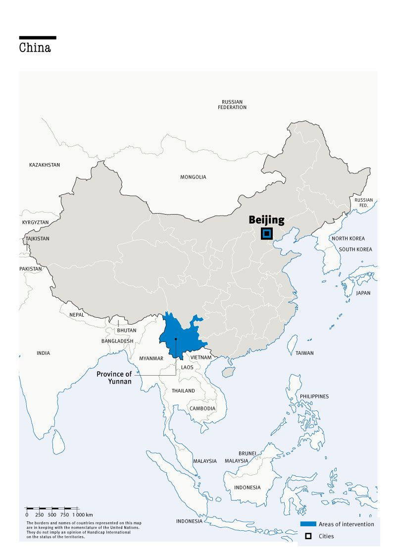 Map of Humanity & Inclusion's interventions in China
