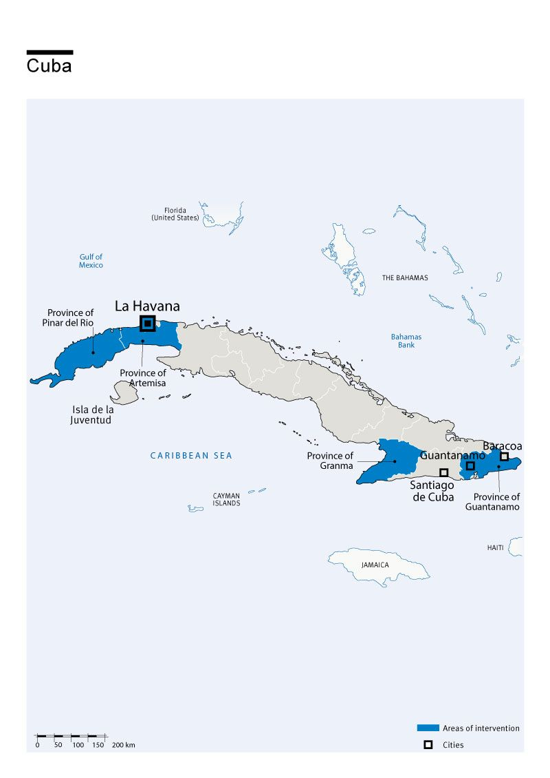 Map of Humanity & Inclusion's interventions in Cuba