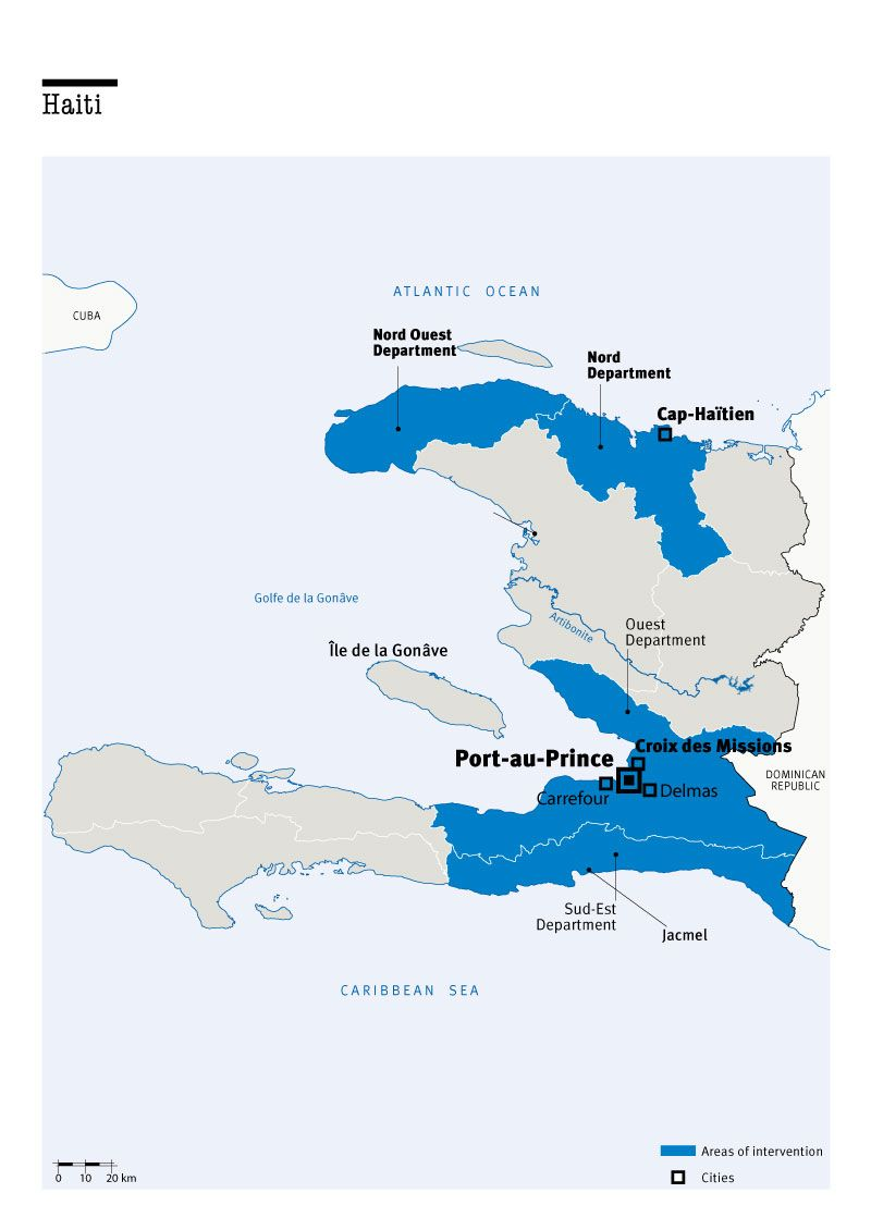 Map of Humanity & Inclusion's interventions in Haiti