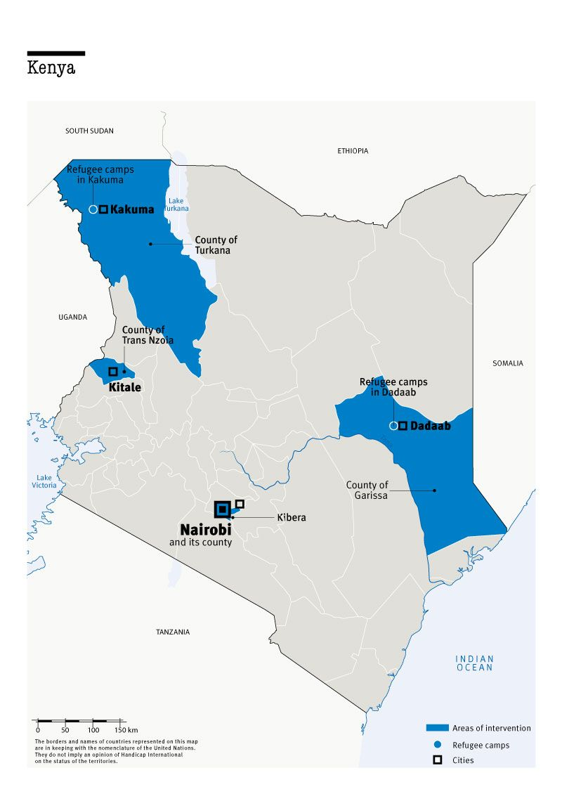 Map of Humanity & Inclusion's interventions in Kenya