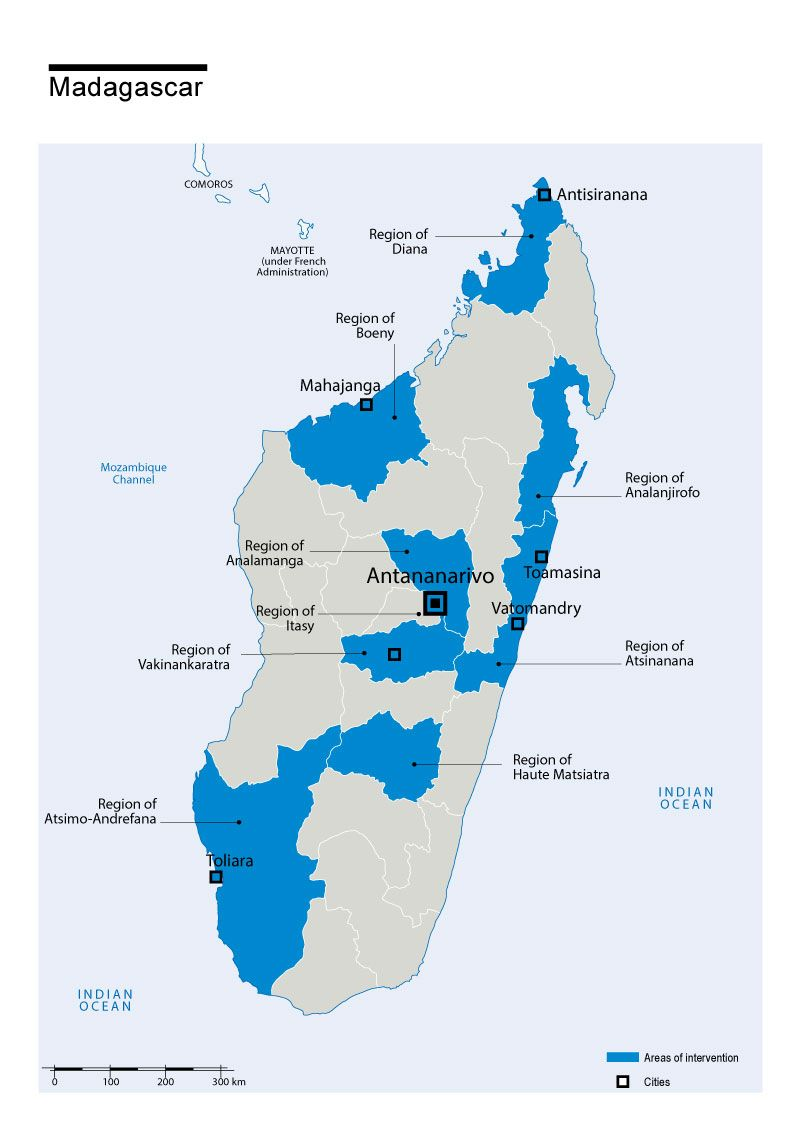 Map of Humanity & Inclusion's interventions in Madagascar