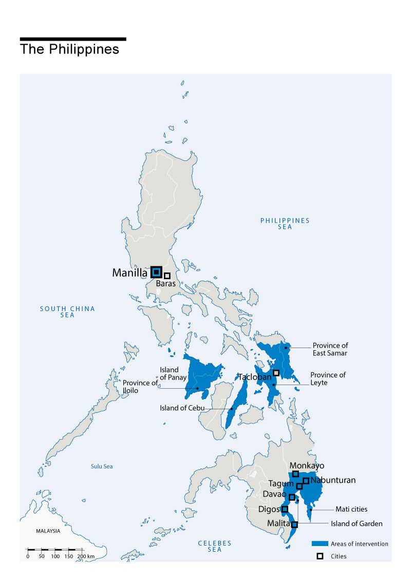 Carte des interventions de HI aux Philippines