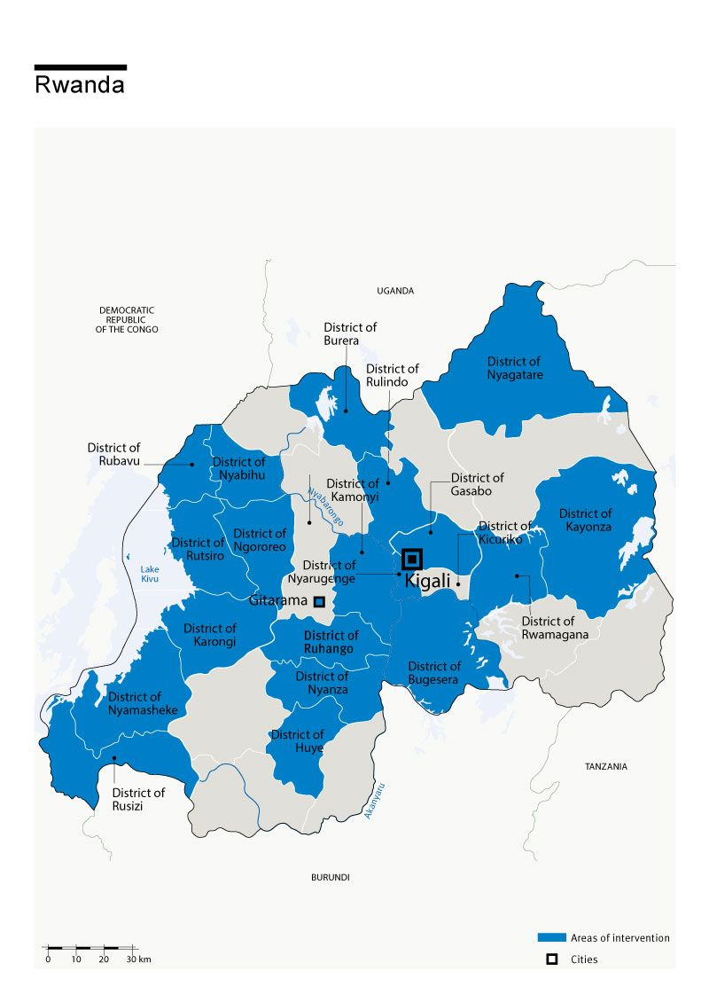 Map of Humanity & Inclusion's interventions in Rwanda
