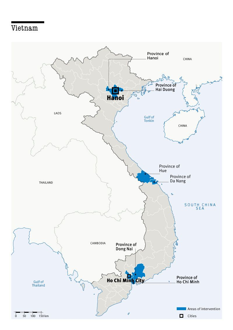 Map of Humanity & Inclusion's interventions in Vietnam