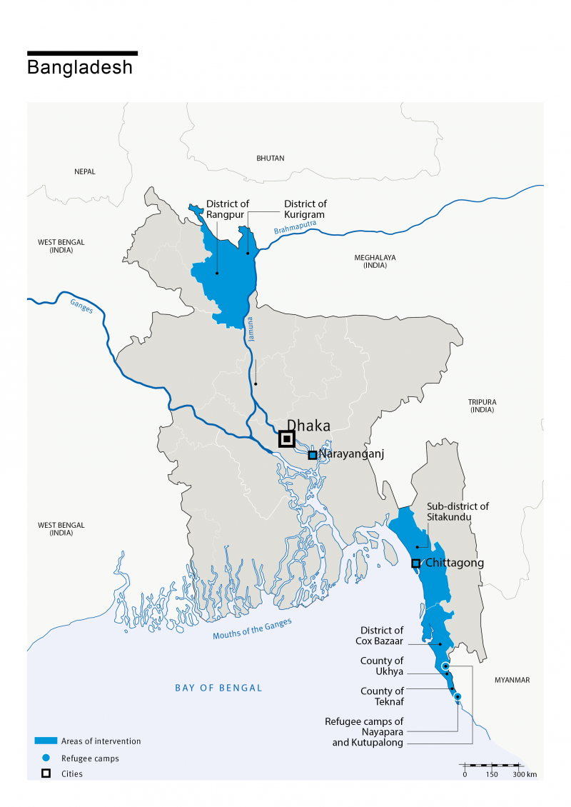 Map of Bangladesh with HI's presence in the country