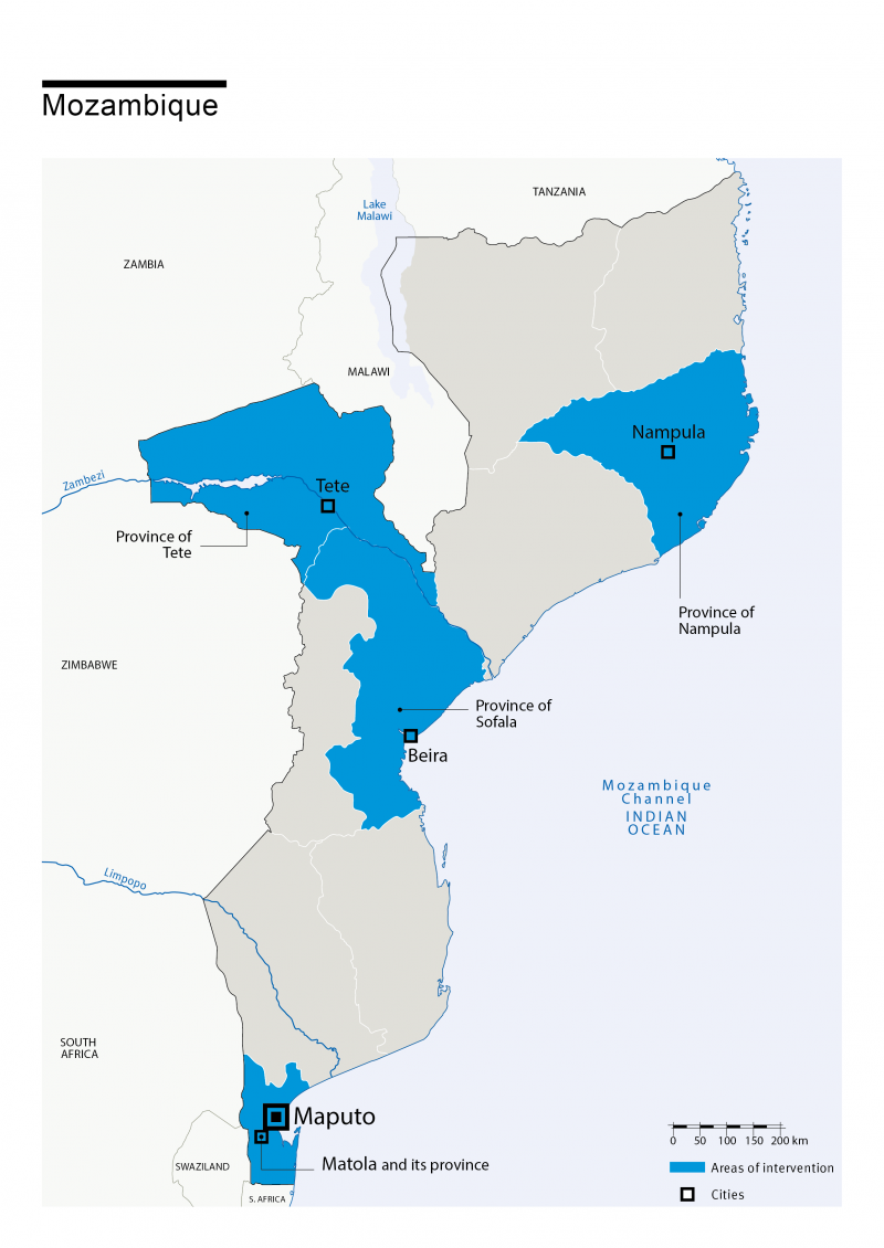 Map of HI's interventions in Mozambique