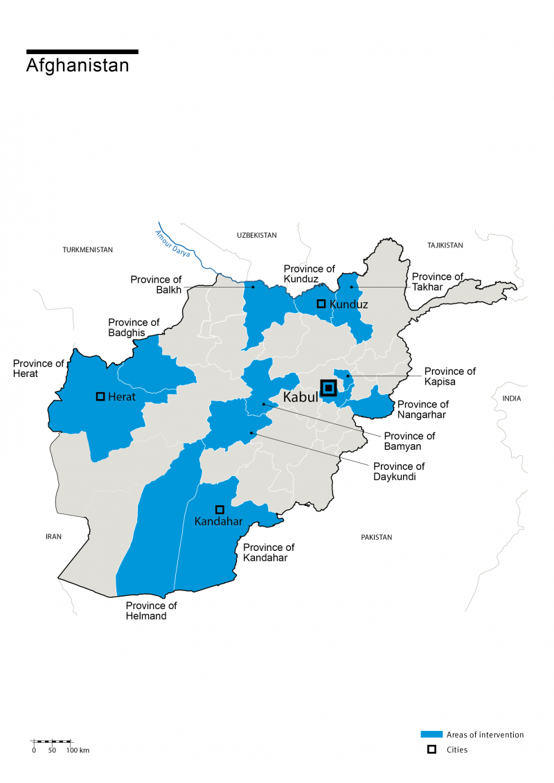 Map of HI's interventions in Afghanistan