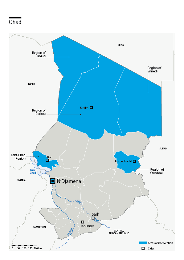 Carte des interventions de HI au Tchad