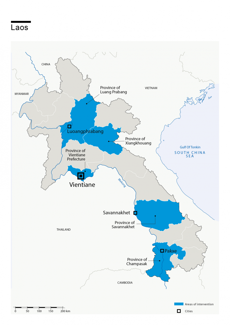 Map of HI's interventions in Laos