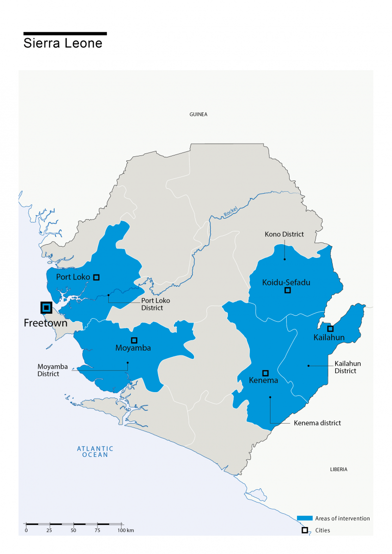 Map of HI's interventions in Sierra Leone