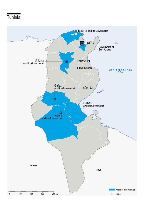 Map of HI's interventions in Tunisia
