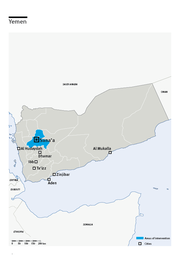 Map of HI's interventions in Yemen