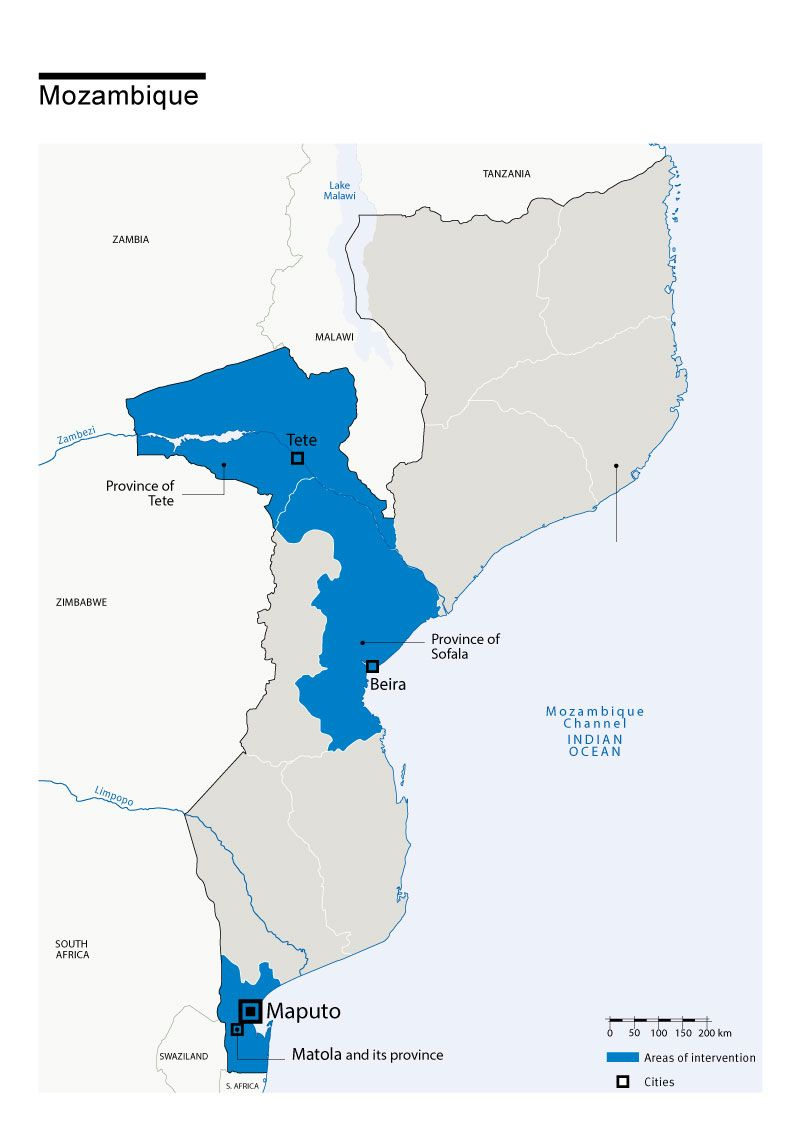 Carte des interventions de HI au Mozambique