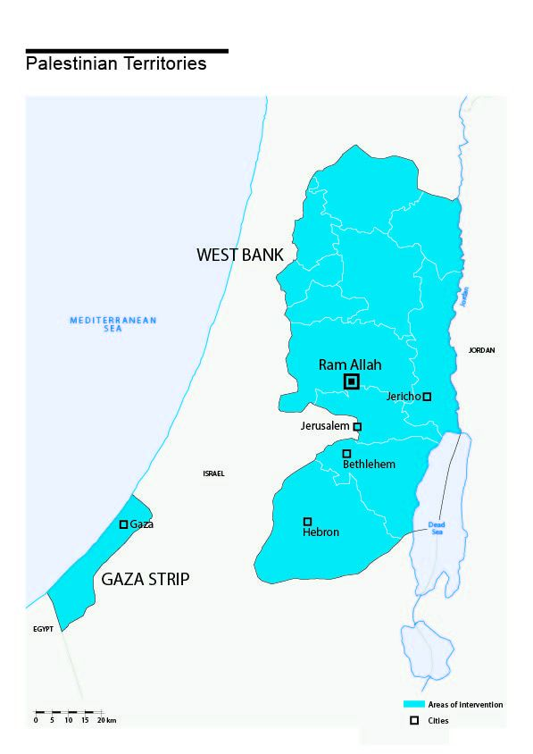 Map of HI's interventions in Palestinian territories