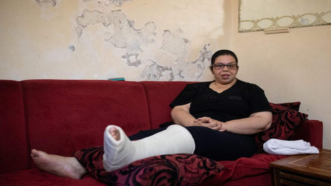 Nada Baghdadi, 27, suffered a broken leg when two explosions ripped through the port of Beirut on 4 August.