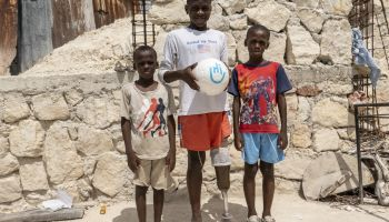Haitian earthquake victim Moïse is back on the football pitch