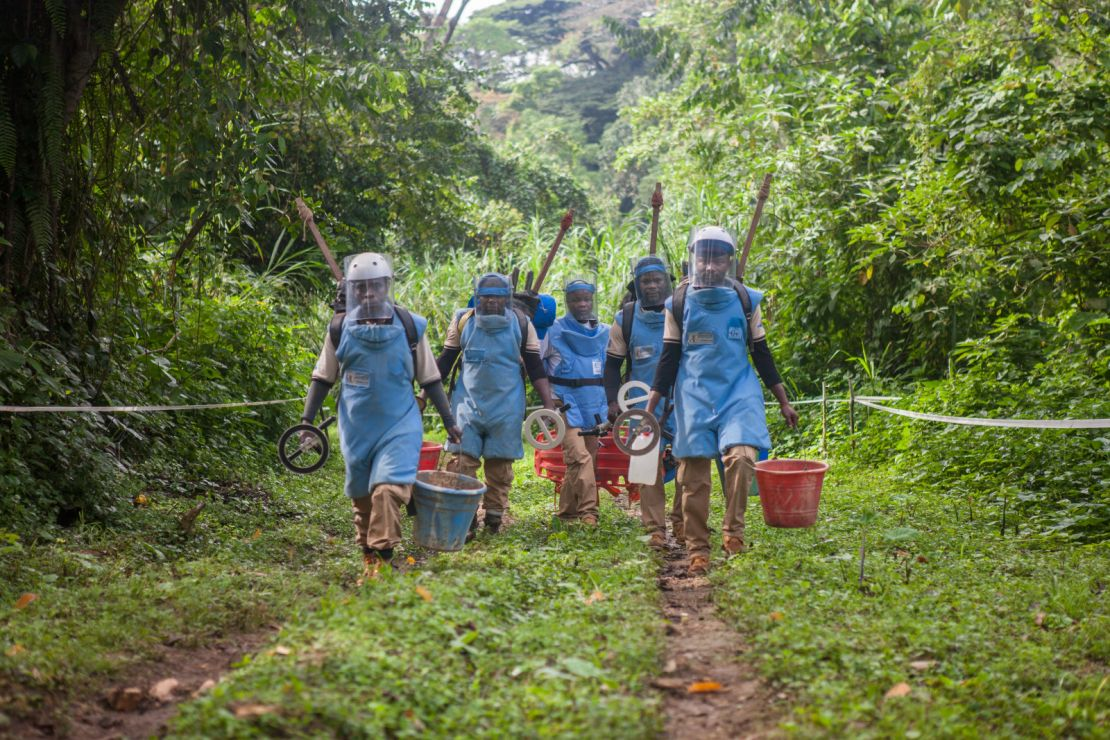 The AFRILAM demining team on its way to a clearance zone on the Itendey site