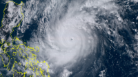 Satellite image of the Super-typhoon Goni / Rolly approaching the Philippines - October 31, 2020 - Satellite image Himawari-8.