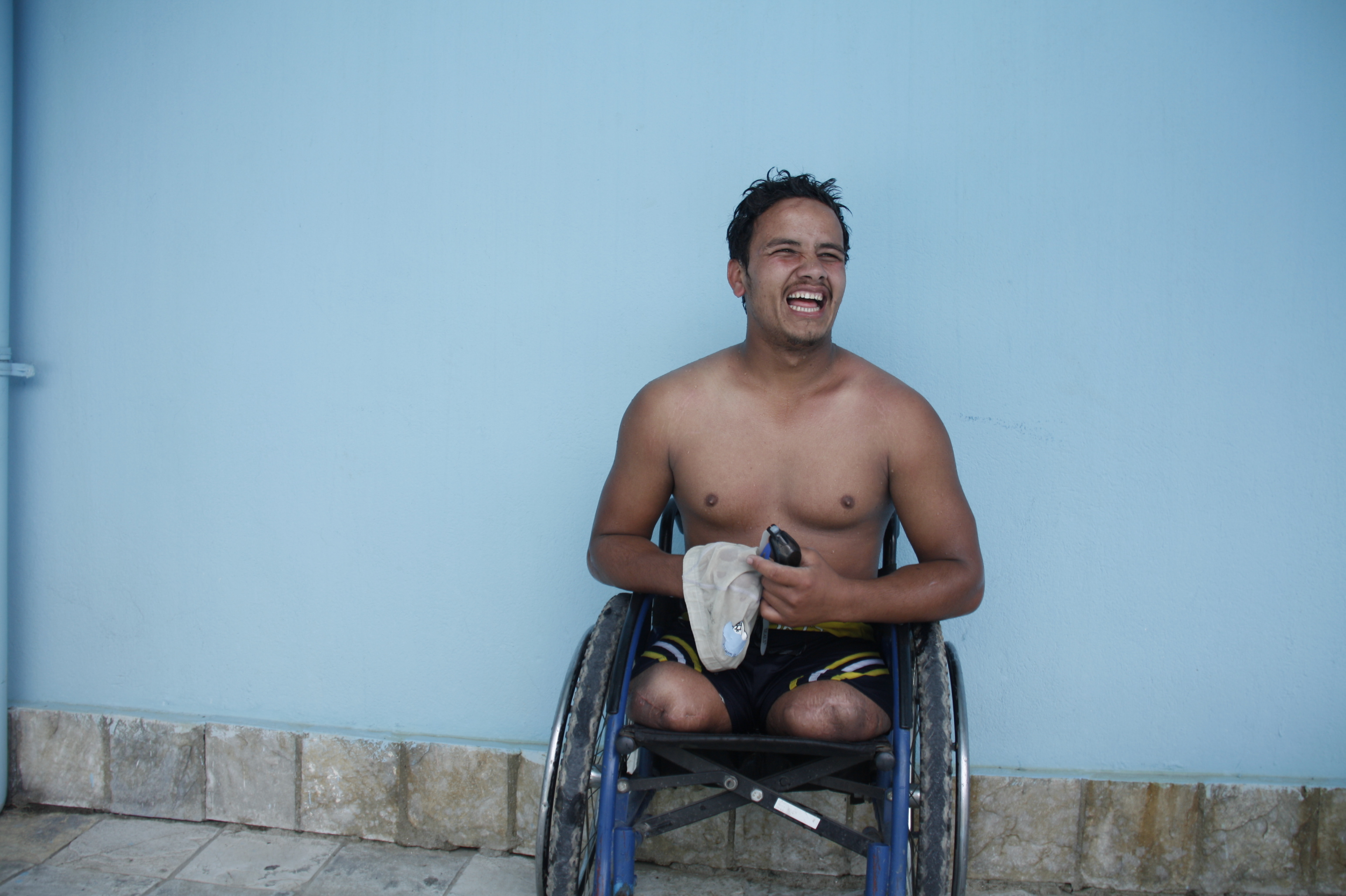 Ramesh is training in swimming for the Paralympic Games