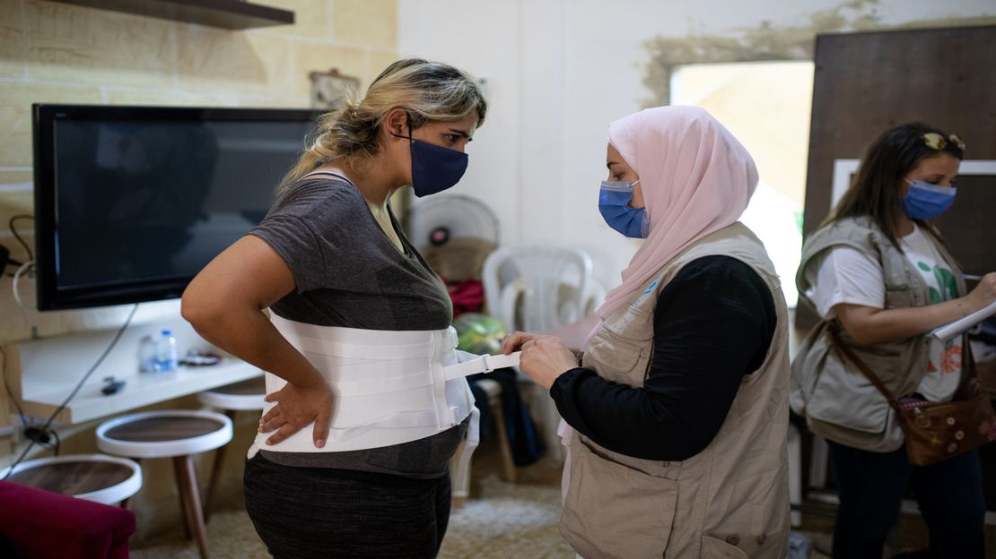 Nour Khalaf, 33, suffers from chronic lower back pain, which has grown worse since she fell in the second explosion.